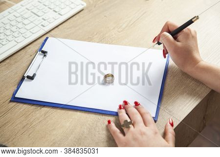 Hands Of Wife, Husband Signing Decree Of Divorce, Dissolution, Canceling Marriage, Legal Separation