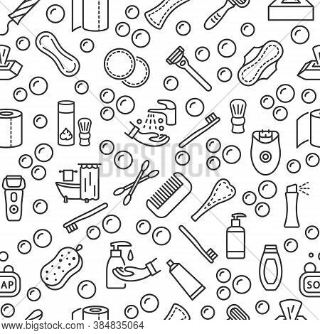 Personal Hygiene Products Seamless Pattern With Vector Line Flat Icon. Care Of Yourself. Womens And