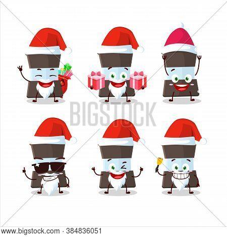Santa Claus Emoticons With Mokka Pot Cartoon Character