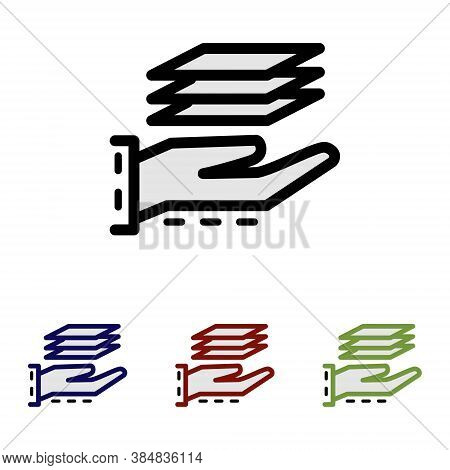 Simple Outline Icon Of A Hand With A Stack Of Paper On Top. Pictogram Of Making Paper Products Or Pr