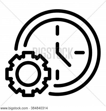 Outsource Work Time Icon. Outline Outsource Work Time Vector Icon For Web Design Isolated On White B