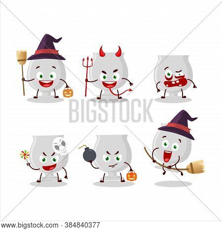 Halloween Expression Emoticons With Cartoon Character Of Silver Trophy