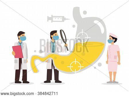 Team Of Doctors Diagnose Human Stomach. Gastroenterologist. Vector Graphic Illustration.