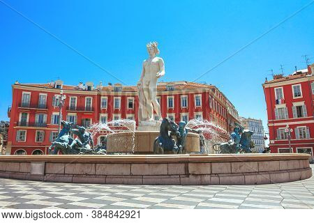Nice, France - July 3, 2019: Fountain Soleil On Place Massena In Nice, France