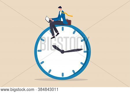 After Hours Worker, Working Late Overtime Or Career That Work In Different Time Concept, Confident B