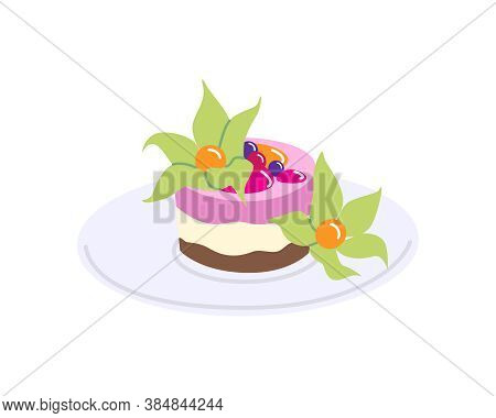 Piece Of Cake On Plate Vector Flat Illustration. Simple Dessert With Physalis Berries And Fruit Sauc