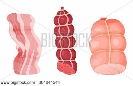 Meat Products With High-fat Bacon Slice And Sausage Vector Illustration
