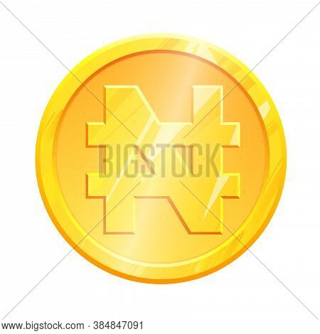 Golden Naira Coin Ngn Symbol On White Background. Finance Investment Concept. Exchange Nigerian Curr