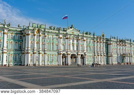 Hermitage Museum On Palace Square, Saint Petersburg, Russia - July 2019