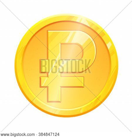 Rub Golden Ruble Coin Symbol On White Background. Finance Investment Concept. Exchange Russian Curre