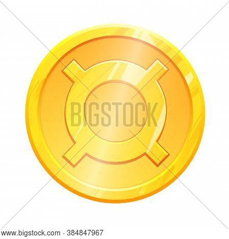 Golden Coin Generic Currency Icon Symbol On White Background. Finance Investment Concept. Exchange M