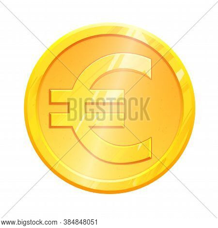Golden Euro Coin Symbol On White Background. Finance Investment Concept. Exchange European Currency