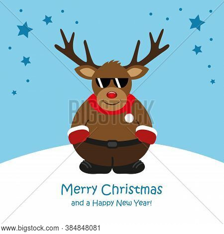 Cute Christmas Deer With Sunglasses Cartoon Vector Illustration Eps10