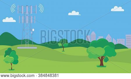 Cellular Transmission Tower. Wireless Radio Signal Connection With Buildings. Mobile Communications