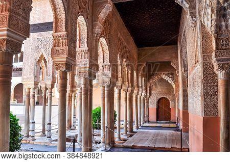 Interiors Of Alhambra Palace In Granada, Spain - June 2018