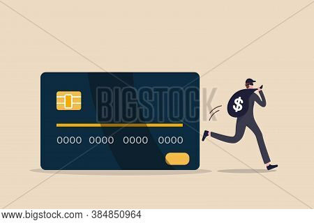 Credit Card Online Hacking, Online Hacking Or Financial Robbery Concept, Young Mysterious Thief With