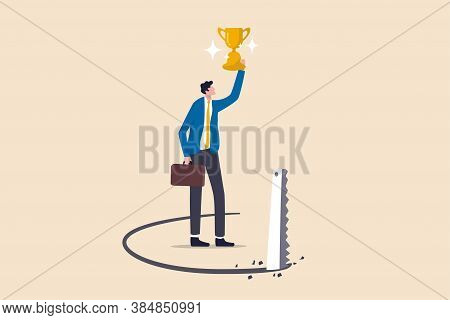 Success Trap, Problem With Career Or Betrayal In Business Deal Concept, Success Businessman Holding
