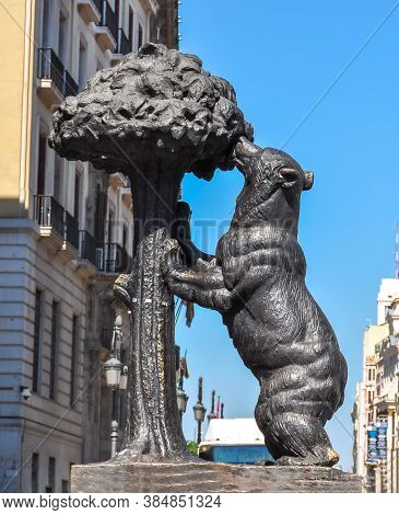 Madrid, Spain - June 2019: Statue Of Bear And Strawberry Tree On Puerta Del Sol Square In Madrid