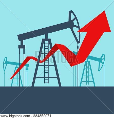 Oil Production Growth - Derrick Towers Arrow Up - World Energy Carriers Vector Illustration