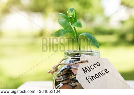 Micro Finance. Glass Jar With Coins, On A Wooden Table, On A Natural Background. High Quality Photo