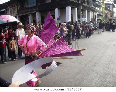 Girl In Hot Pink With Wings In Floral Festival Chiang Mia Nth Thailand