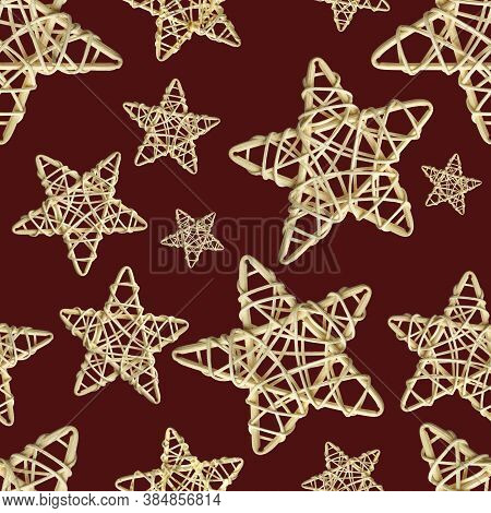 Seamless Pattern With Christmas Decoration Wicker Star Made Of Rattan On Red Background