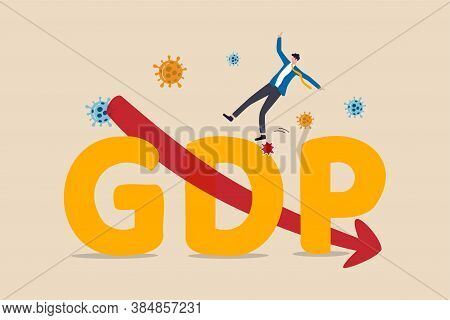 Gross Domestic Product, Gdp Decrease Due To Covid-19 Coronavirus Outbreak World Wide Economic Recess