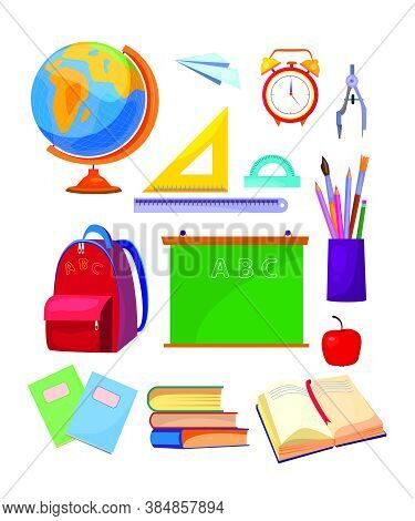 School Subjects Set. Collection Of School Supplies. Can Be Used For Topics Like Education, Class, St