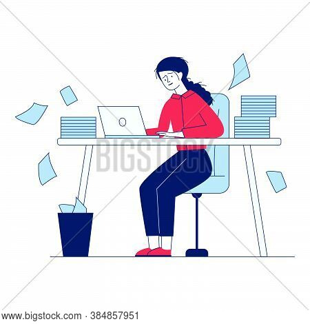 Stressed Accountant Working With Stacks Of Reports. Employee With Piles Of Documents Holding Head Fl