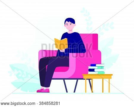 Young Man Sitting In Armchair And Reading Book. Story, Home, Reader Flat Vector Illustration. Hobby