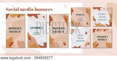 Trendy Editable Template For Social Networks Stories In Nude Colors. Design Backgrounds For Social M