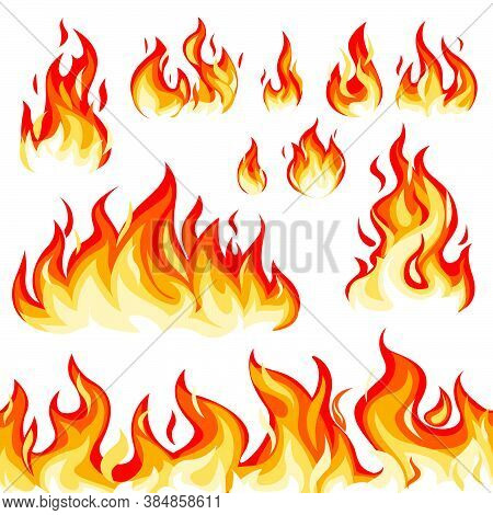 Flame Flat Vector Illustration Set. Fire, Burning, Blazing, Texture. Danger, Decoration, Ignition Co