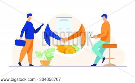 Business Partners Handshake. Business People Shaking Hands With Each Other Over Stack Of Money, Clos