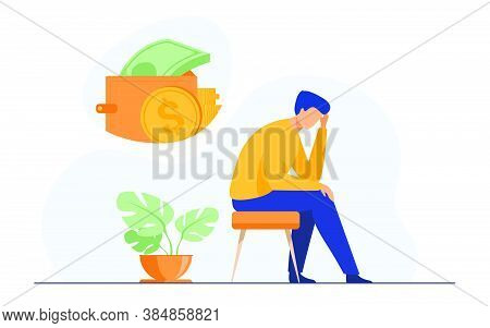 Depressed Sad Man Thinking Over Financial Problems And Debts. Businessman Broke, Needing Money, Havi