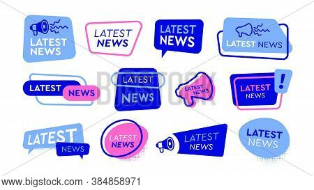 Latest News Labels Flat Icon Set. Newsletter Headlines, Newspaper Special Banners And Daily Report S