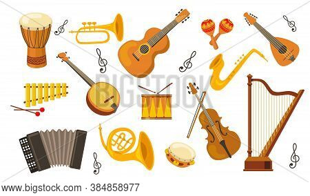 Musical Instrument Set. Accordion, Guitar, Harp, Ethnic Drum, Violin, Saxophone. Can Be Used For Orc