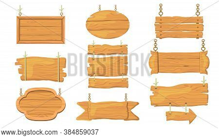 Wooden Signs Set. Rough Rustic Boards And Planks, Signboards Hanging On Ropes, Bar And Saloon Banner