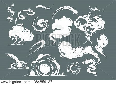Comic Smoke Puffs Set. Cloud, Wind, Bomb. Smoke Concept. Cartoon Blast Vector Illustrations Can Be U