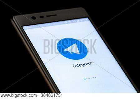 Telegram Messenger, The  Fastest Messaging App On The Market, Displayed On The Screen Of A Smartphon