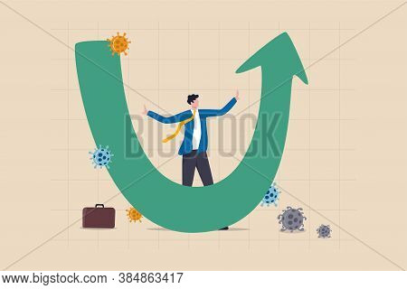 U Shape Economic Recovery After Coronavirus Covid-19 Crash Concept, Businessman Professional Analyse