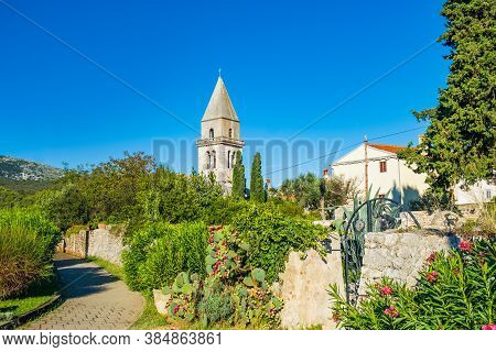 Beautiful Ancient Town Of Osor On The Island Of Cres In Croatia, Gardens And Cathedral Tower