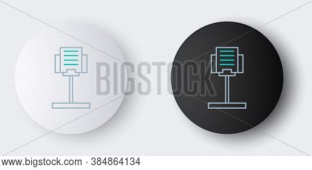 Line Music Stand Icon Isolated On Grey Background. Musical Equipment. Colorful Outline Concept. Vect