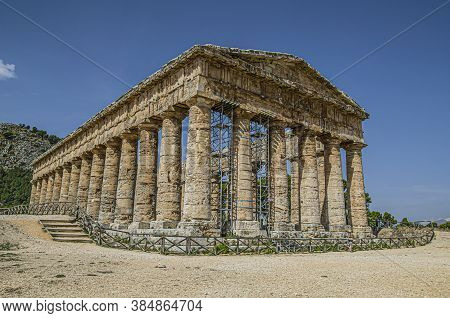 Panoramic Of The Doric Greek Temple Of Segesta From The 5th Century Bc On The Island Of Sicily. Ital