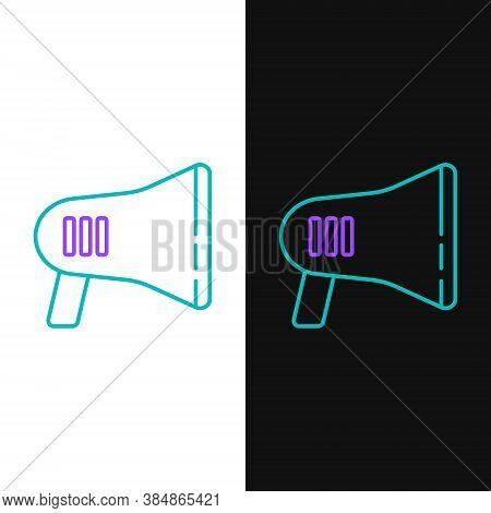 Line Megaphone Icon Isolated On White And Black Background. Loud Speach Alert Concept. Bullhorn For