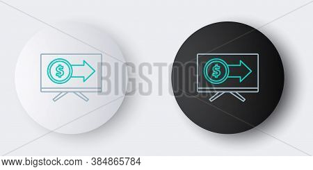 Line Monitor With Dollar Symbol Icon Isolated On Grey Background. Online Shopping Concept. Earnings
