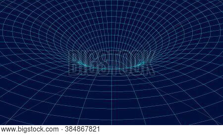 Wireframe Abstract Tunnel. 3d Vector Wormhole With A Mesh Structure. Vortex. Vector Perspective Grid