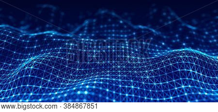 Shining Abstract Dynamic Wave Of Points And Lines. Perspective Grid. Big Data. Network Of Particles.