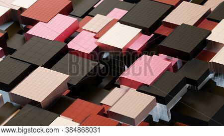 Abstract Architectural Composition Made Of Cubes, Aka Building Elements, Cladding Colored . Against
