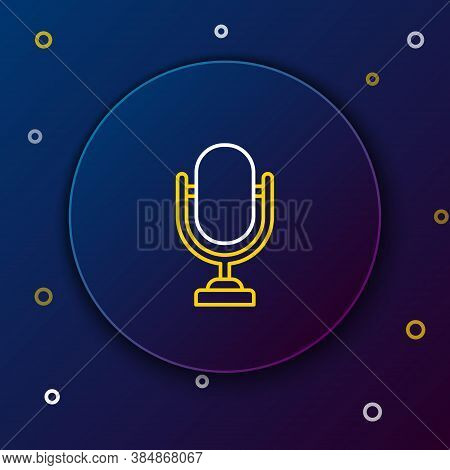 Line Microphone Icon Isolated On Blue Background. On Air Radio Mic Microphone. Speaker Sign. Colorfu