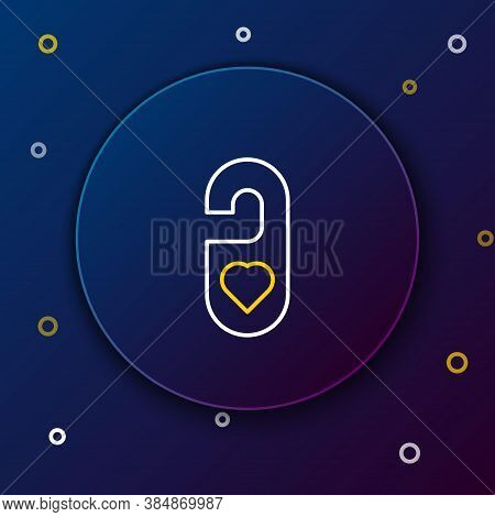 Line Please Do Not Disturb With Heart Icon Isolated On Blue Background. 8 March. International Happy